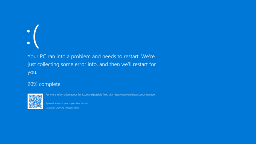 A blue screen of death error occurring on a Windows 10 machine.