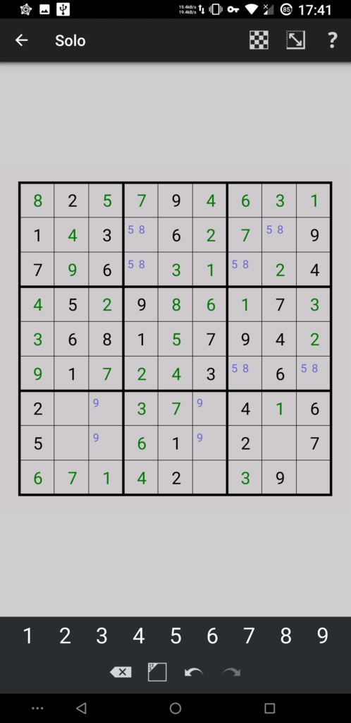 Simon Tatham's Puzzles for Android playing a game of Solo