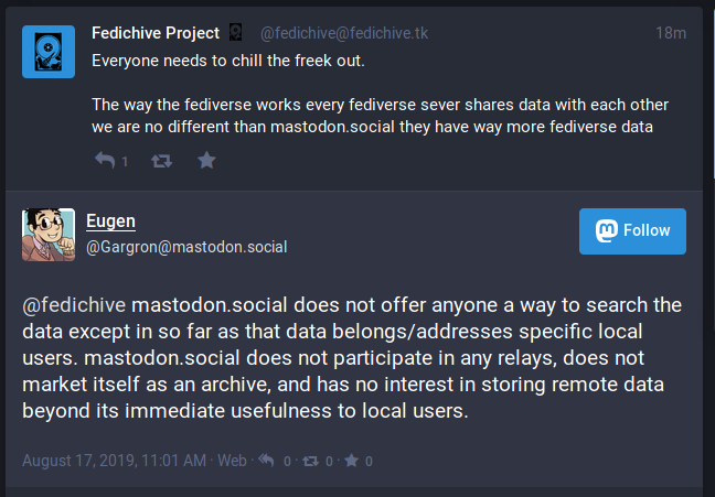 mastodon.social does not offer anyone a way to search the data except in so far as that data belongs/addresses specific local users. mastodon.social does not participate in any relays, does not market itself as an archive, and has no interest in storing remote data beyond its immediate usefulness to local users.