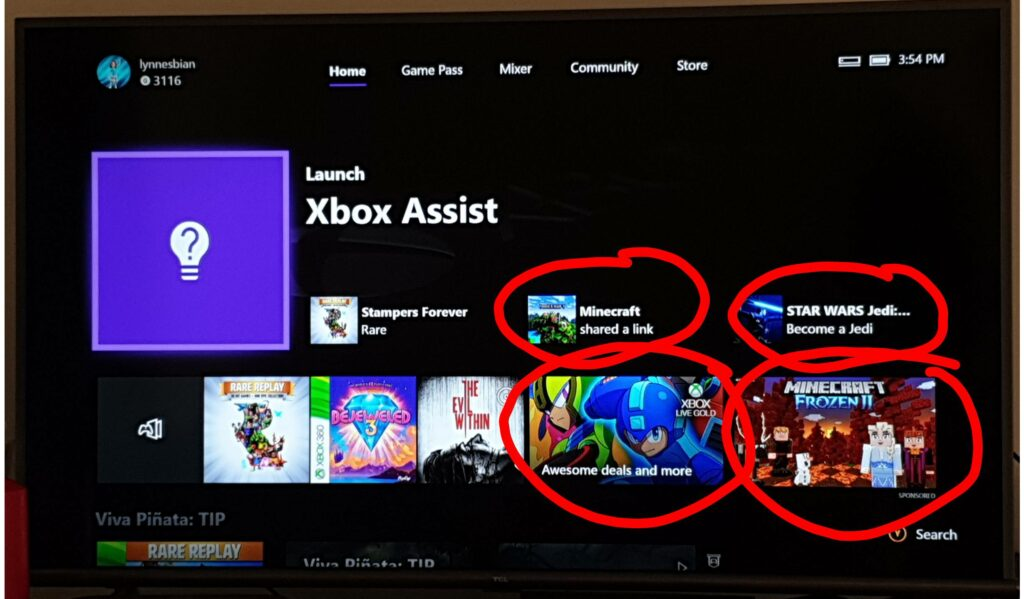 xbone home screen with four ads circled