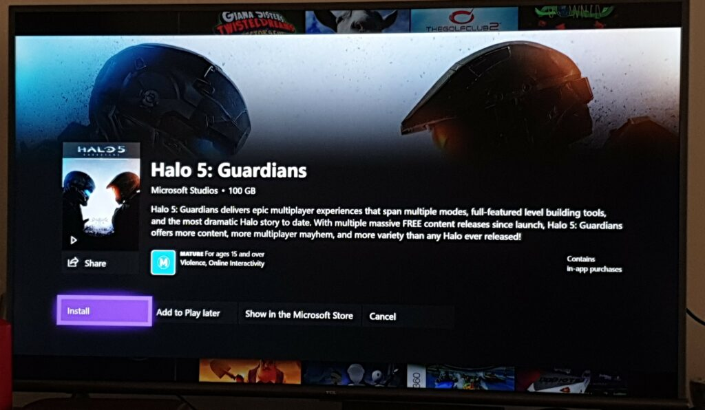 game pass description showing that halo 5 is 100gb